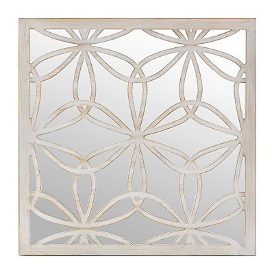 Distressed Cream Flower Mirrored Plaque