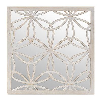 Distressed Cream Flower Mirrored Plaque