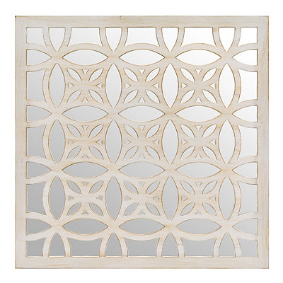 Distressed Cream Lattice Mirrored Plaque