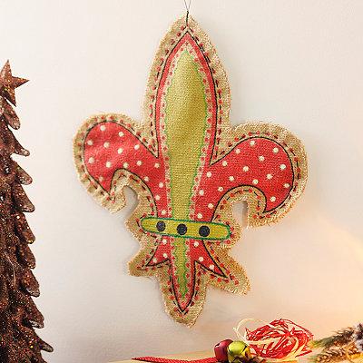 Burlap Fleur-de-Lis Wall Hanger