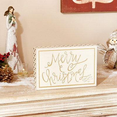 Gold Merry Christmas Plaque