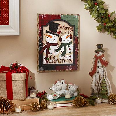 Merry Christmas Snowman Plaque
