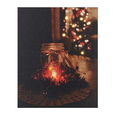 Holiday Mason Jar LED Canvas Art Print