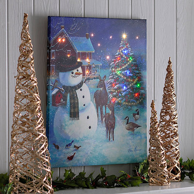 Snowman & Friends LED Canvas Art Print