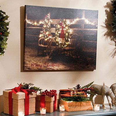 Country Christmas LED Canvas Art Print