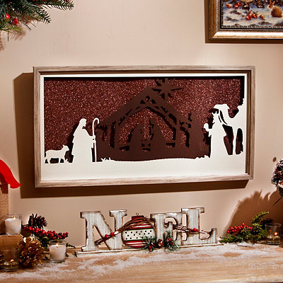 Bronze Glitter Nativity Framed Art