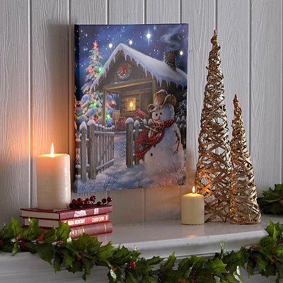 Christmas Cottage LED Canvas Art Print