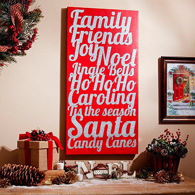 Christmas Joys Glittered Canvas Art Print