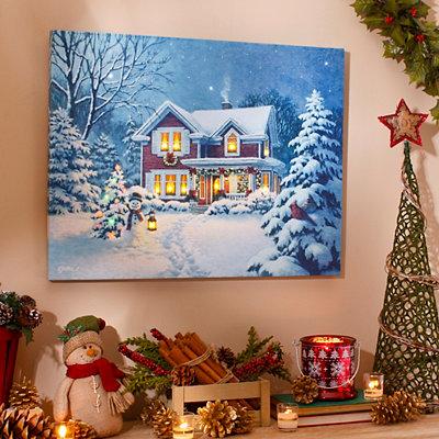 Christmas Greetings LED Canvas Art Print