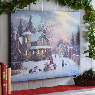 Christmas with the Family LED Canvas Art Print