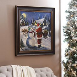 Santa & Snowman Framed Art Print