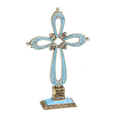 Ornate Blue Cross Statue
