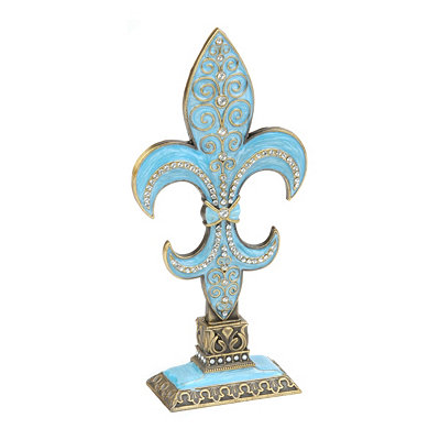 Blue Rhinestone Fleur-de-lis Statue