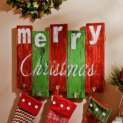 Merry Christmas Plaque with Hooks