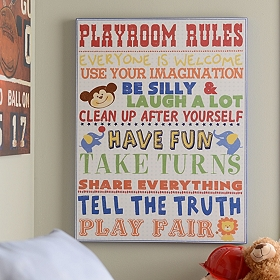 Playroom Rules for Boys Canvas Art Print