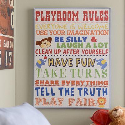 Playroom Rules for Boys Canvas Art Print