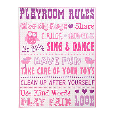 Playroom Rules for Girls Canvas Art Print