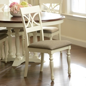 Antique White Scroll Back Dining Chair