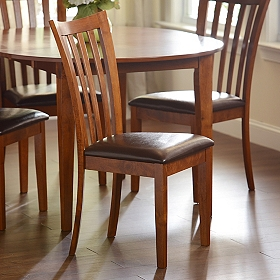 Light Walnut Slat Back Dining Chair
