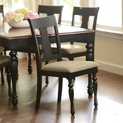 Antique Black Splat Back Dining Chair