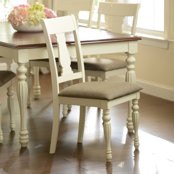 Antique White Splat Back Dining Chairs Set Of 2