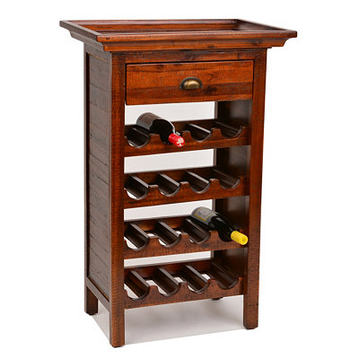 Brown Wine Rack with Removable Tray