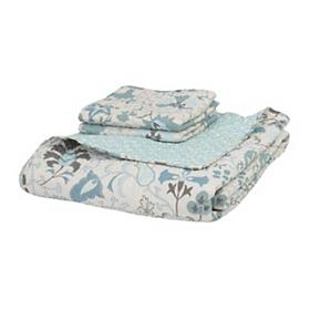 Blue Floral 3-pc. King Quilt Set