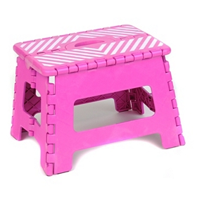 Fuchsia Striped Step Stool