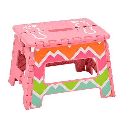 Pink Chevron Striped Step Stool