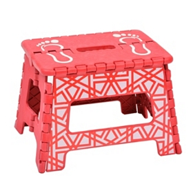 Red Web Striped Step Stool