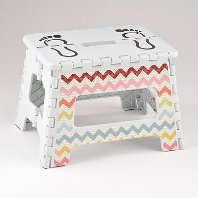 White Chevron Striped Step Stool