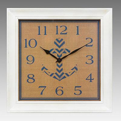 Burlap Blue Anchor Clock