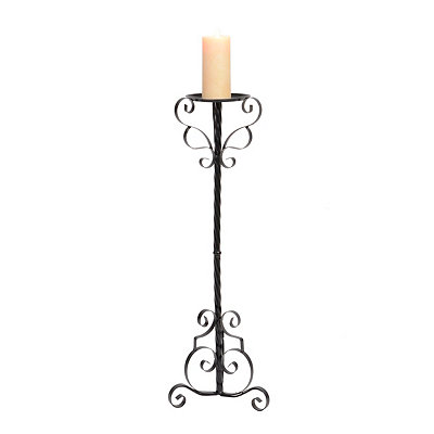 Black Scrolling Metal Floor Candle Holder, 32 in.
