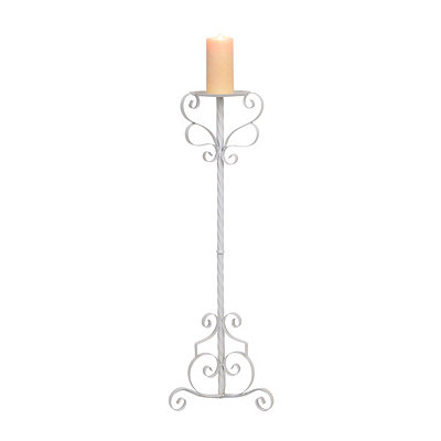 White Scrolling Metal Floor Candle Holder, 32 in.