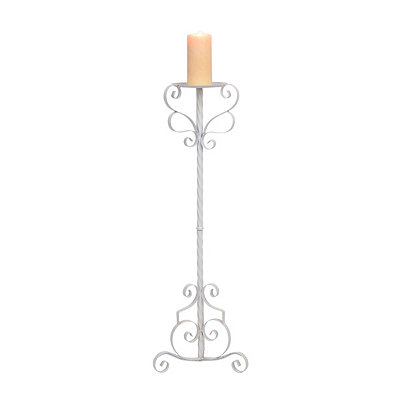 White Scrolling Metal Floor Candle Holder, 36 in.