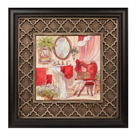 Red Victorian Bath I Framed Art Print