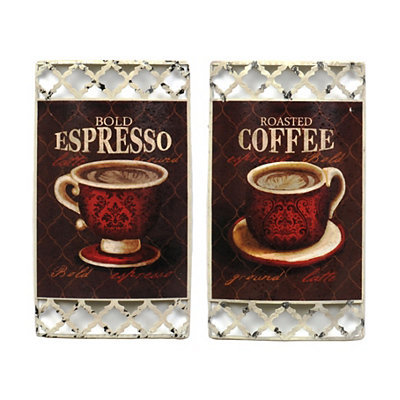 Fresh Brewed Metal Wall Plaques, Set of 2