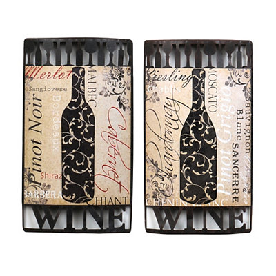 Words of Wine Metal Wall Plaques, Set of 2