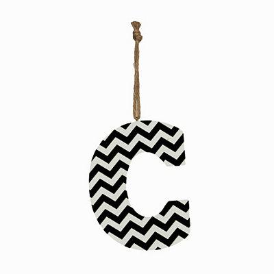 Black Chevron Monogram C Hanging Letter