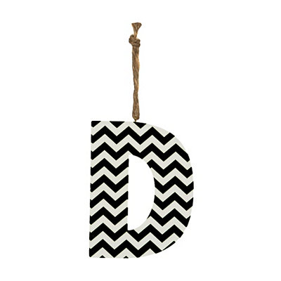 Black Chevron Monogram D Hanging Letter