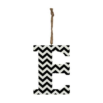 Black Chevron Monogram E Hanging Letter
