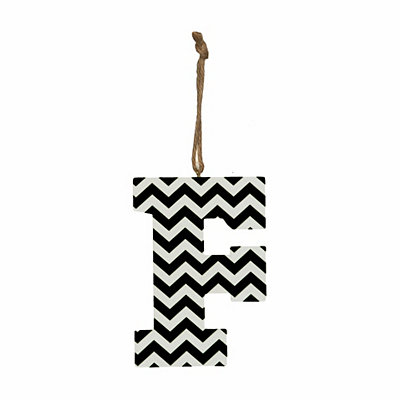 Black Chevron Monogram F Hanging Letter