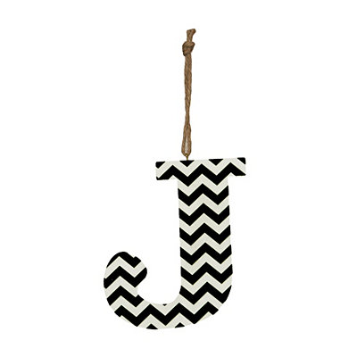 Black Chevron Monogram J Hanging Letter