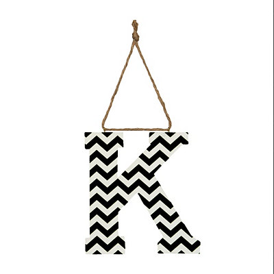 Black Chevron Monogram K Hanging Letter