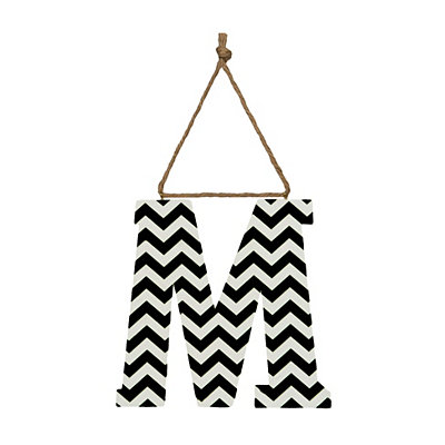 Black Chevron Monogram M Hanging Letter