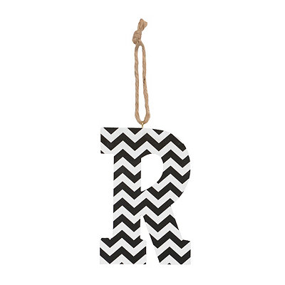 Black Chevron Monogram R Hanging Letter