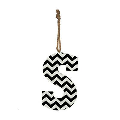 Black Chevron Monogram S Hanging Letter