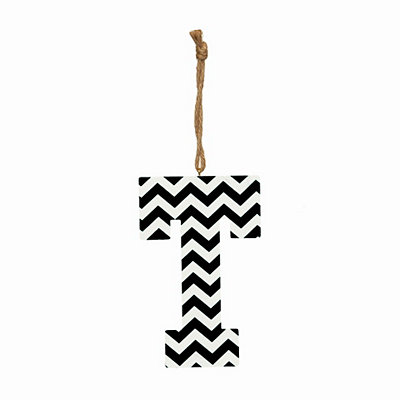 Black Chevron Monogram T Hanging Letter