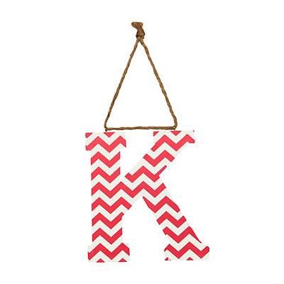 Pink Chevron Monogram K Hanging Letter