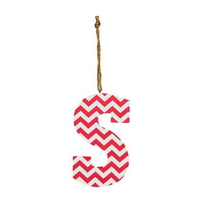 Pink Chevron Monogram S Hanging Letter